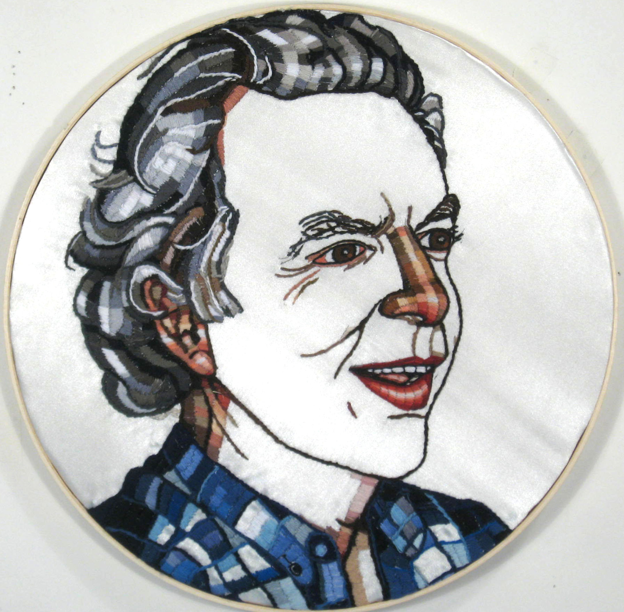 hand-embroidered portrait